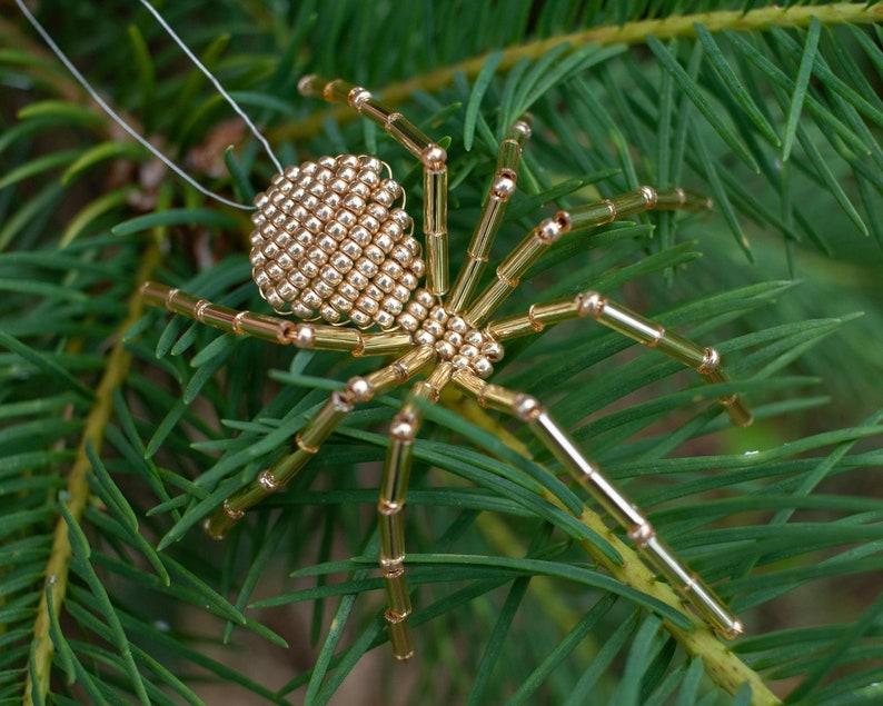 Christmas Beaded Spider Ornament Gold Christmas Tree image 0