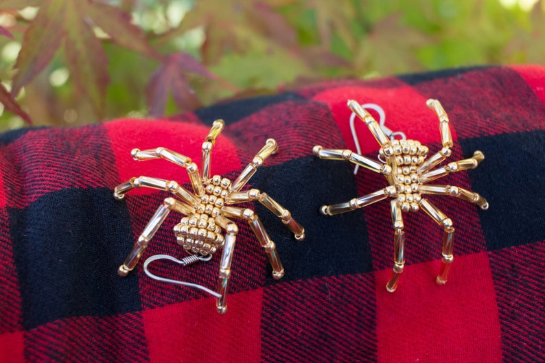 cd7ac709aef9b Gold Christmas Beaded Spider Earrings