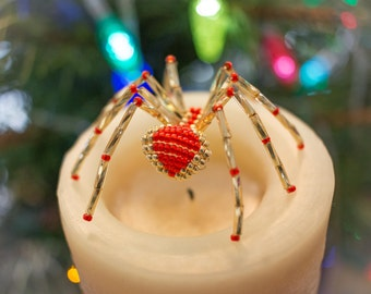 Christmas Spider Ornament, Gold & Red Beaded Christmas Tree Ornament, Legend of the Christmas Spider, Unique Christmas Ornaments