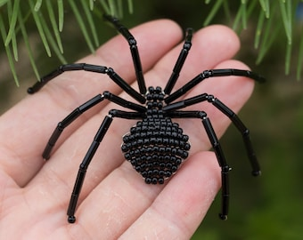 Black Spider Brooch   Creepy Jewelry   Spider Costume Accessory   Fall Beaded Pin