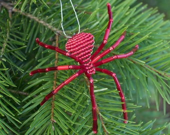 Christmas Spider   Satin Red   Beaded Spider Ornament   Legend of the Christmas Spider  