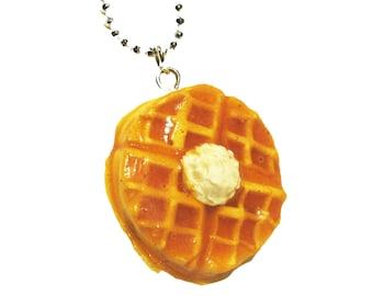 Belgium Waffle Necklace - Waffle necklace - waffle jewelry - breakfast jewelry - breakfast - waffle - food jewelry - food necklace - clay