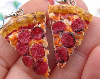Pepperoni Pizza Earrings - Pizza Earrings - Pizza Jewelry - Pepperoni Pizza Jewelry - Miniature Food - Food Jewelry - Food Earrings
