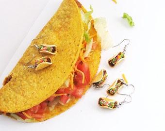 Taco Earrings, Food Jewelry, Miniature Food Jewelry, Polymer Clay Food Earrings