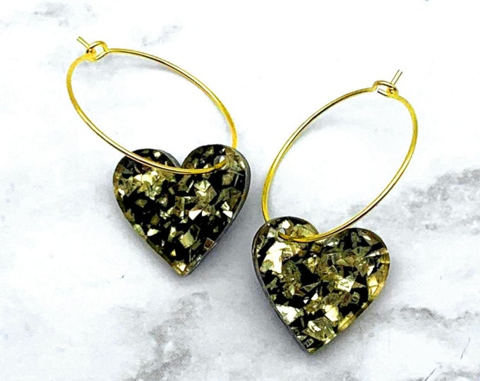 Sweet Sparkles - Gold - Heart Hoops - Laser Cut Acrylic
