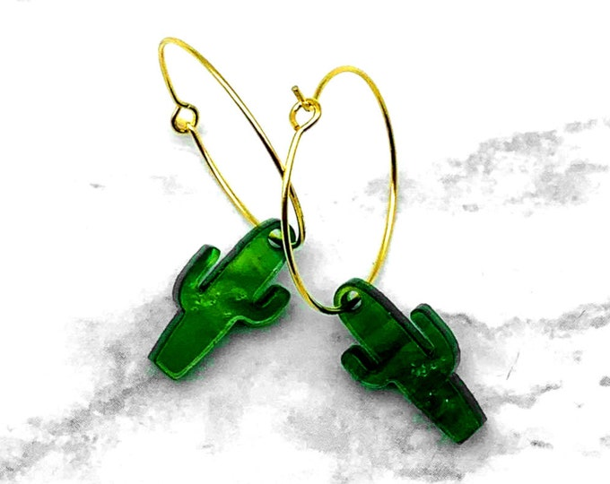 Desert Beauty Cactus Hoop Earrings - Laser Cut Acrylic