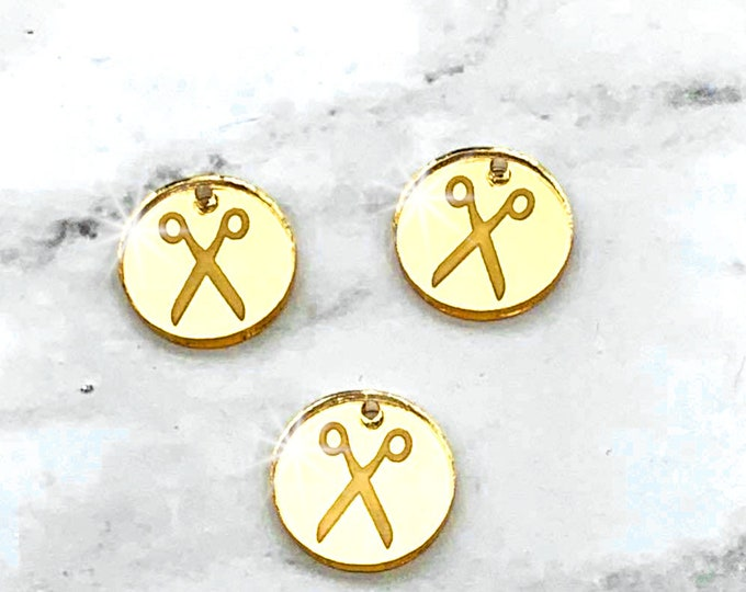GOLD SCISSORS - Circle Disc Charm-  Mirror Laser Cut Acrylic