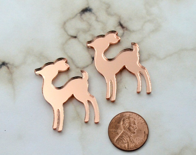 ROSE GOLD MIRROR Deer - Set of 2 Cabochons in Laser Cut Acrylic