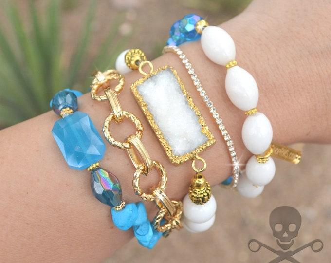 Blue Beauty and Bling Stack - 5 Bracelet Set