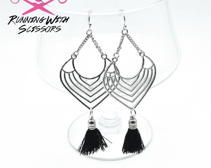 DATE NIGHT - Silver and Black Tassel Chandelier Earrings