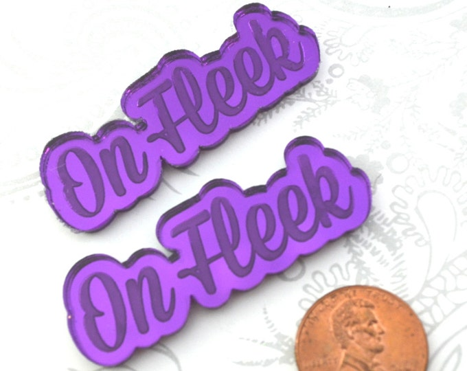 ON FLEEK - 2 Purple Mirror Cabochons- Laser Cut Acrylic Cab