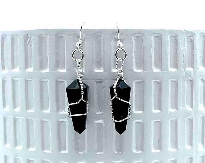 Noir Obsidian Couture Earrings - Hand Wire Wrapped
