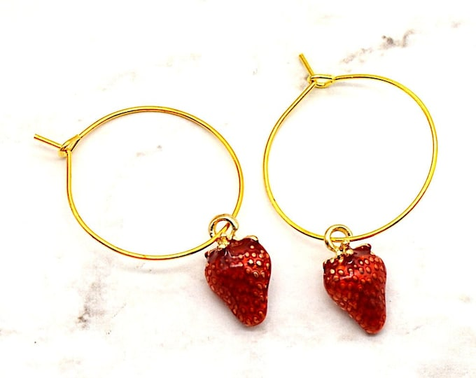 Strawberry Hoop Earrings