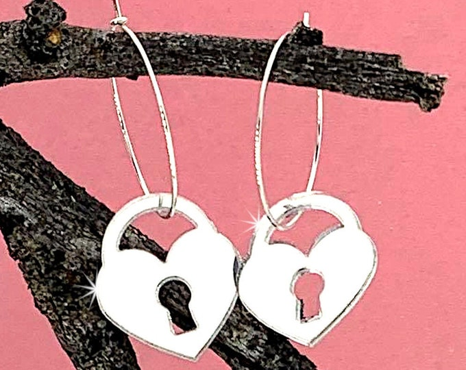 Silver Mirror Padlock Hoop Earrings