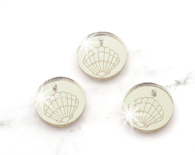 SILVER Mirror SEASHELL CHARMS - Sea Shells - Circle Disc Charm- Shiny Silver Mirror Laser Cut Acrylic