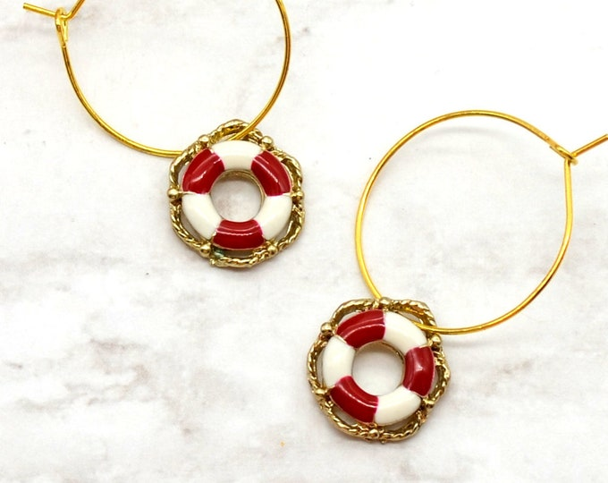 SHIPS AHOY - Gold and Red Nautical Hoop Earrings