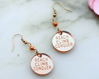 REACH CLIMB CONQUER - Rose Gold Mirror - Engraved Laser Cut Acrylic Charm Earrings