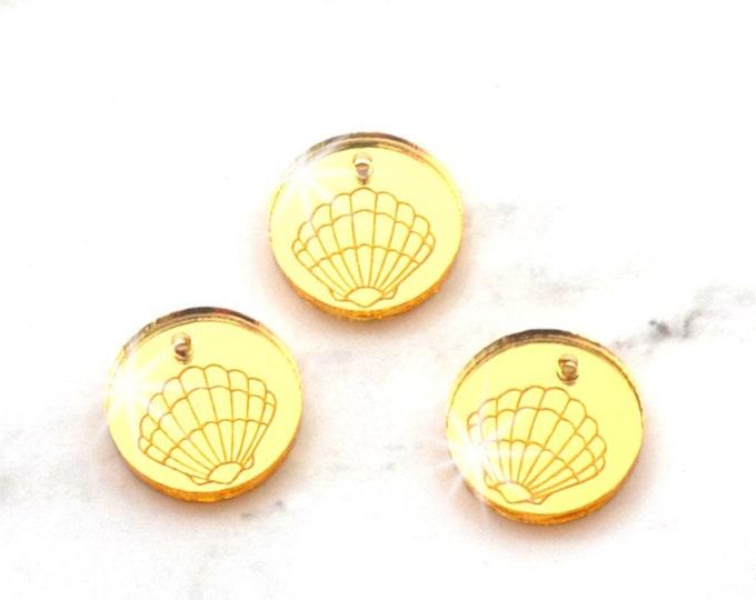 GOLD Mirror SEASHELL CHARMS - Sea Shells - Circle Disc Charm- Shiny Gold Mirror Laser Cut Acrylic