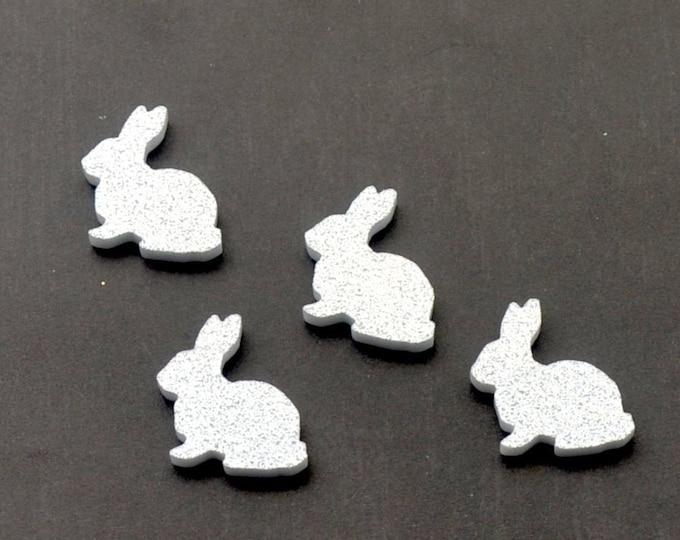 Silver Glitter Bunnies - Laser Cut Acrylic Cabochons - Set of 4