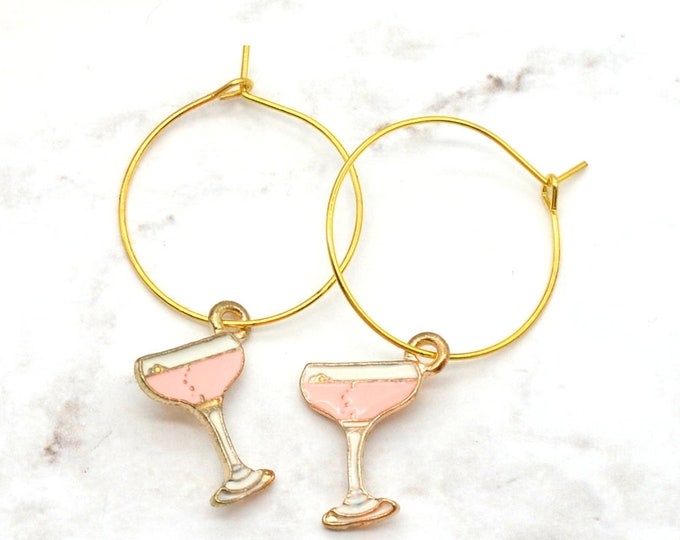 CHAMPAGNE WISHES - Gold and Pink Hoop Earrings