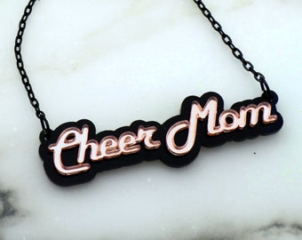 CHEER MOM - Laser Cut Acrylic - Nameplate Style Necklace