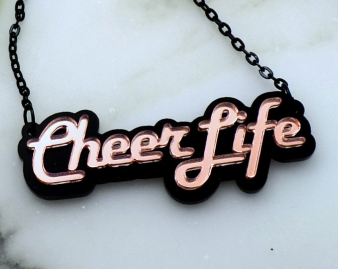 CHEER LIFE - Laser Cut Acrylic - Nameplate Style Necklace