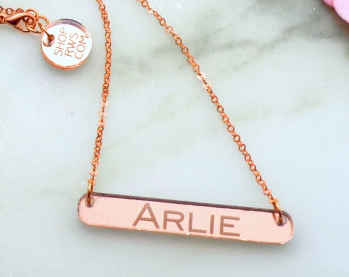 CUSTOM NAME NECKLACE - Laser Cut Acrylic - Rose Gold Mirrored Nameplate