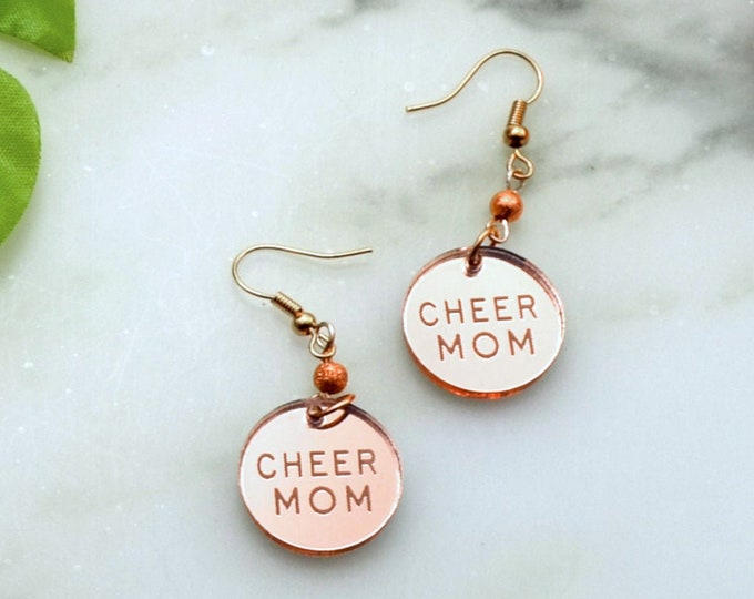 CHEER MOM - Rose Gold Mirror - Engraved Laser Cut Acrylic Charm Earrings