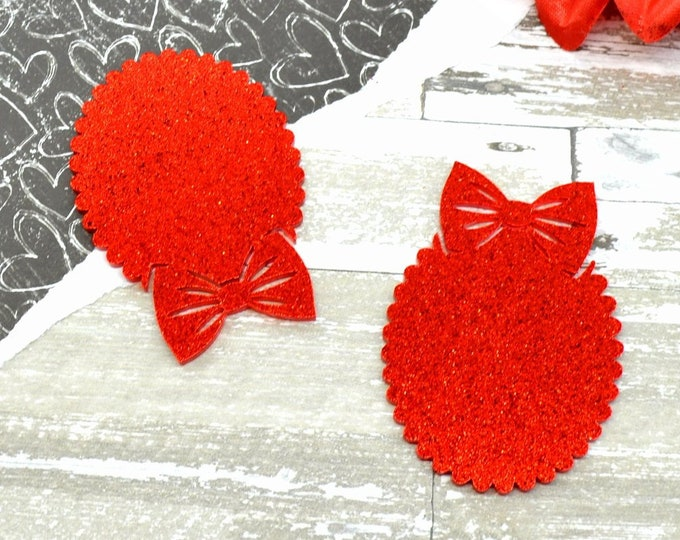 GLITTER RED BOW Cameos - 30x40 mm Frame Settings - Laser Cut Acrylic