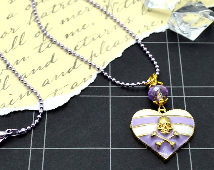 Pretty Pirates - Purple - Sweet Dangly Heart Charm Necklace with Skull and Crossbones