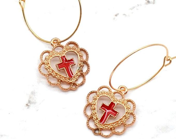SACRED HEART - Rose Gold and Red Cross Hoop Earrings