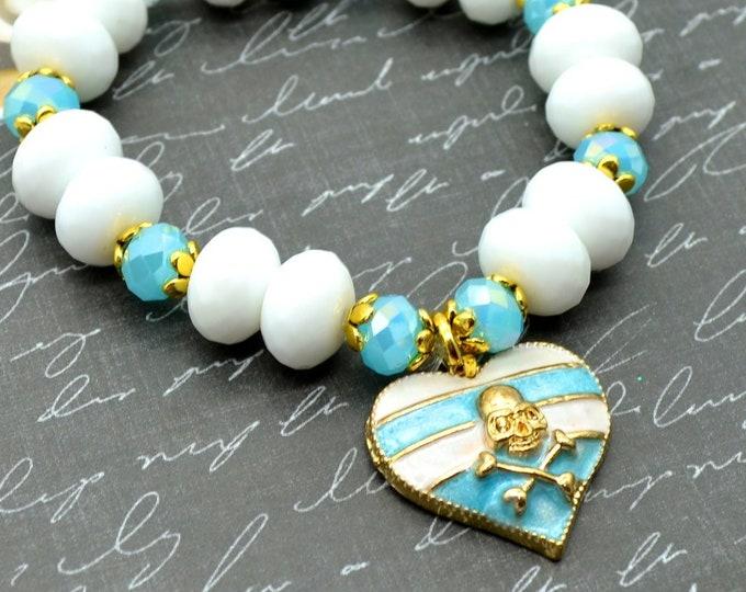 Skull and CrossStripes - Blue - Sweet Dangly Heart Charm Bracelet with Skull and Crossbones