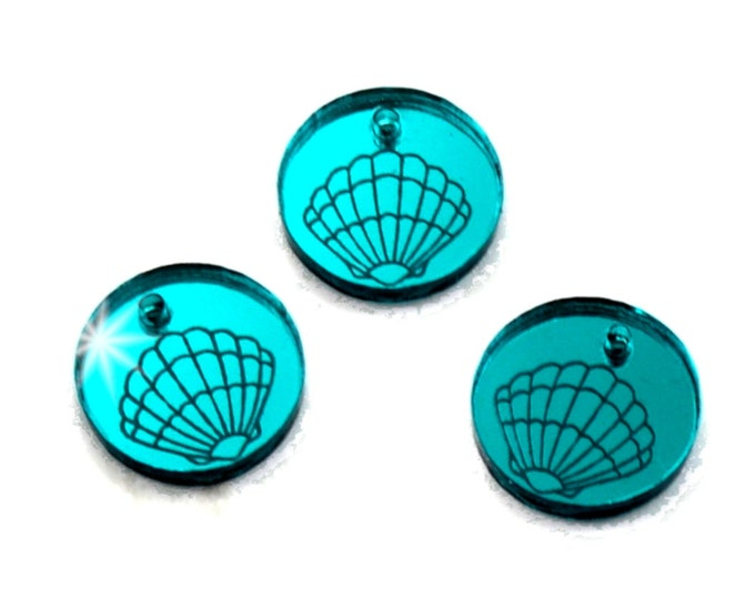 Teal Mirror SEASHELL CHARMS - Sea Shells - Circle Disc Charm- Shiny Teal Mirror Laser Cut Acrylic