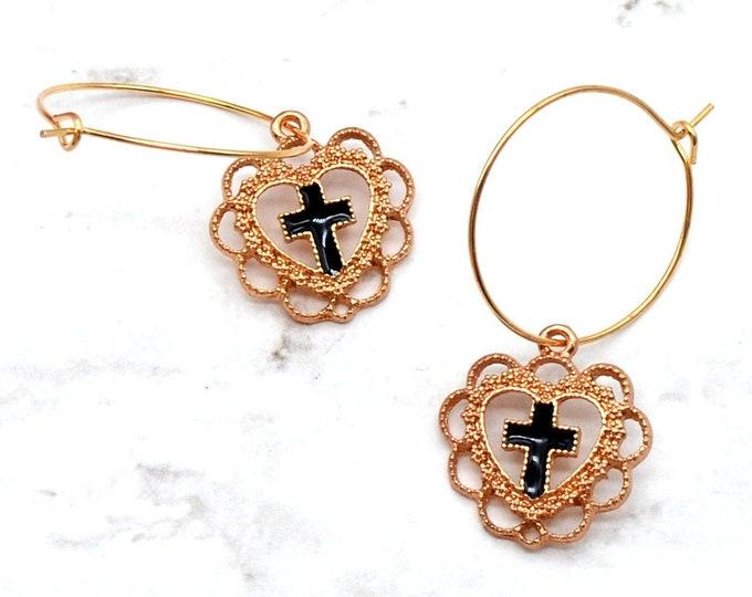 SACRED HEART - Rose Gold and Black Hoop Earrings