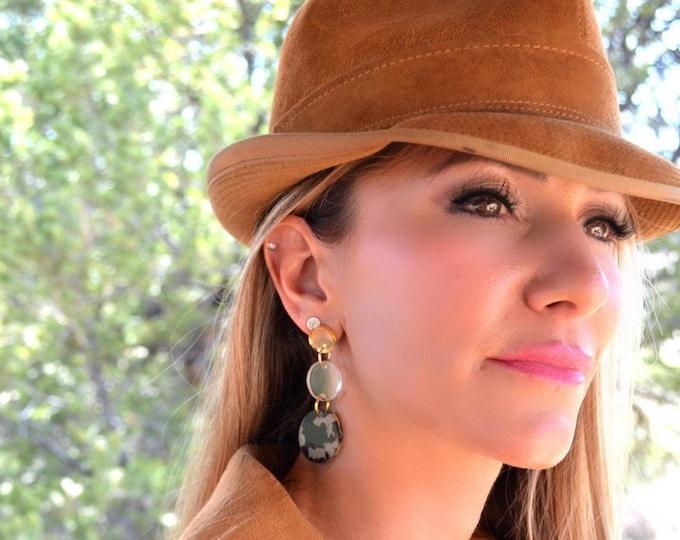 SAFARI GOLD - Drop Dangle Post Earrings - Laser Cut Acrylic - Geometric Glam Collection