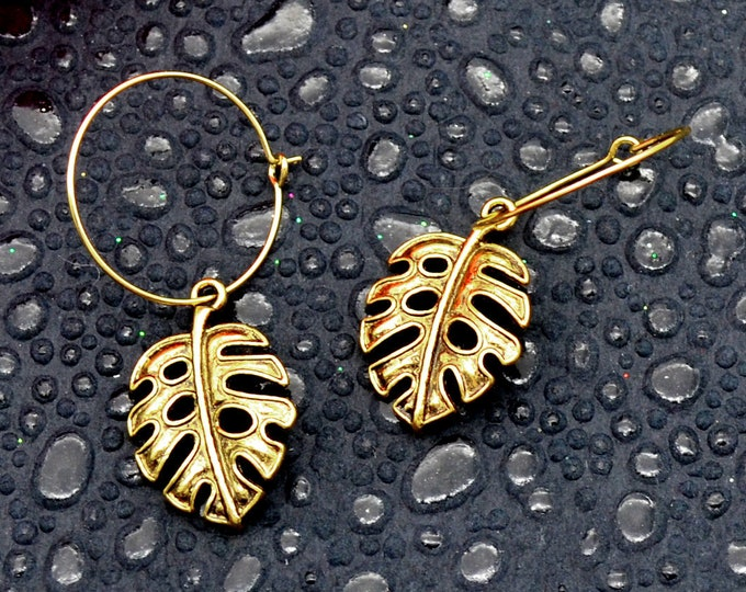 Golden Monstera Charm Hoop Earrings