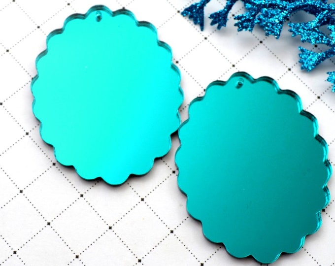 TEAL CAMEOS - 30x40 mm Frame Settings - Mirrored Laser Cut Acrylic
