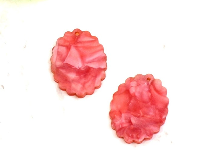2 PINK PEARL CAMEOS - 18x25 mm Frame Settings - Laser Cut Acrylic