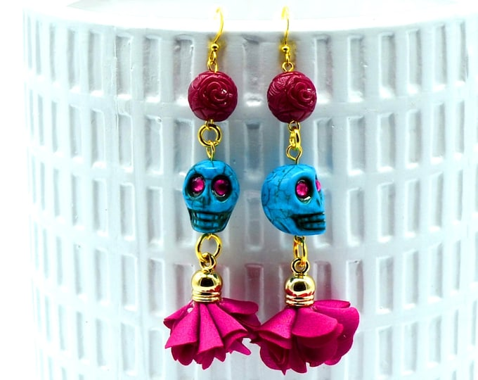 Candy Skulls - Turquoise Skull and Wine Dangly Floral Earrings - *Candy Skull Collection*