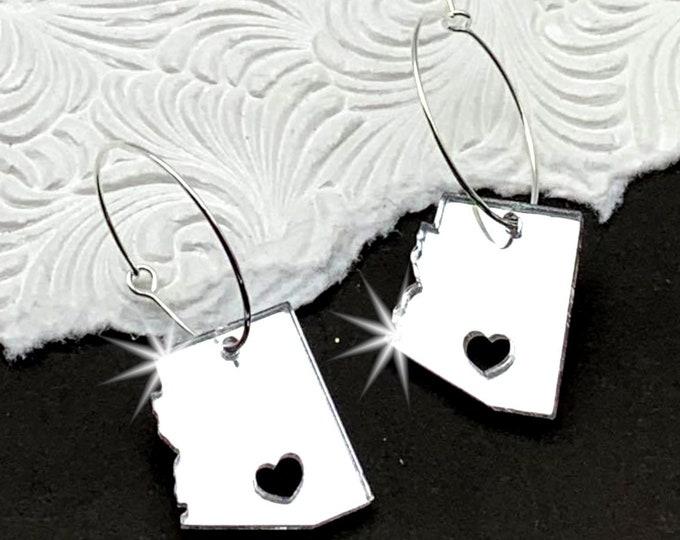 Arizona Dreamer - Silver Laser Cut Acrylic Hoop Earrings