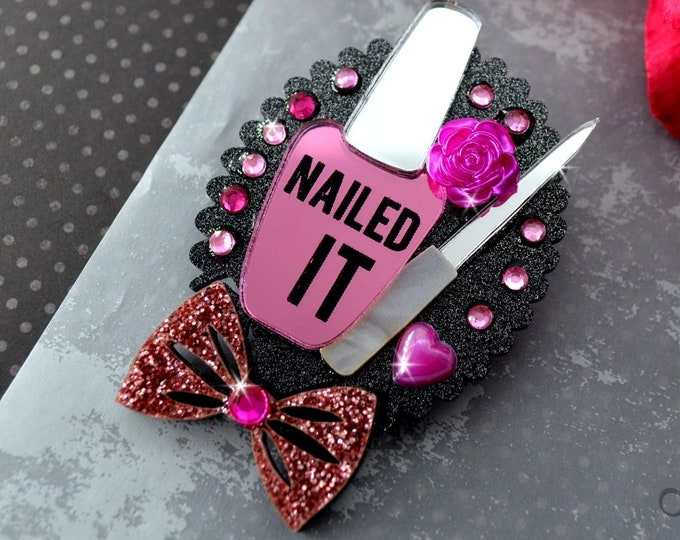 Nailed It! Brooch - Black Glitter Cameo