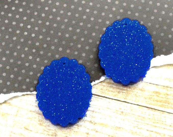 Dark Blue Glitter Cameos - 18x25 mm Frame Settings - Glitter Laser Cut Acrylic