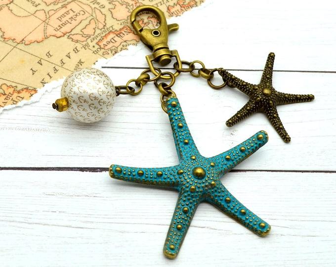 Starfish Purse Charm - Couture Nautical Bronze & Verdigris Key Chain