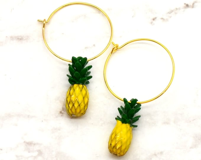 Pineapple Hoop Earrings