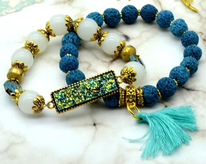 Aqua Romance Bracelet Stack - 2 pack