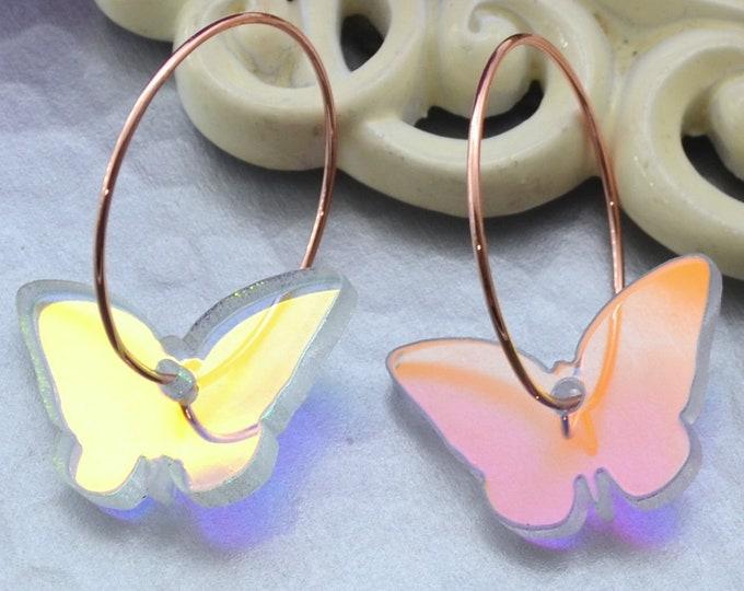 IRIDESCENT BUTTERFLY HOOPS Rose Gold Dangle Earrings