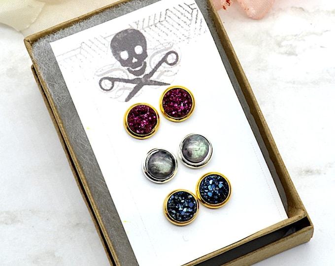 Midnight Love Stud Earrings - 3 Pack - Faux Druzy & Moonstone
