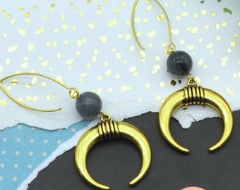 Boho Crescent Horn Earrings
