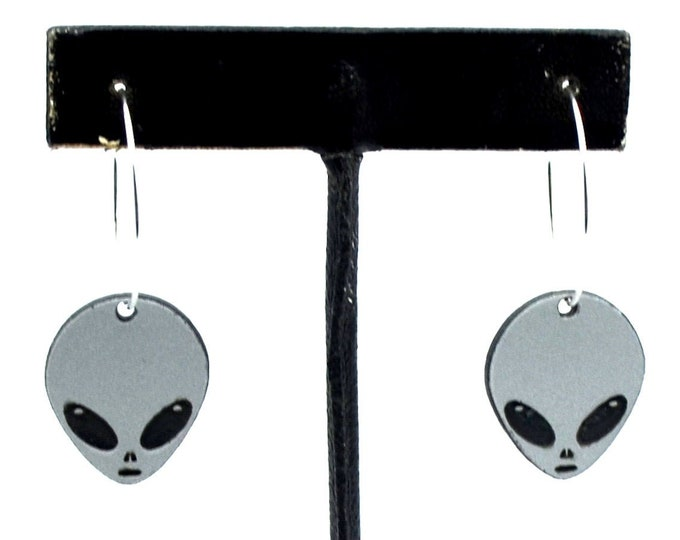 Alien Hoop Earrings - Silver Glitter