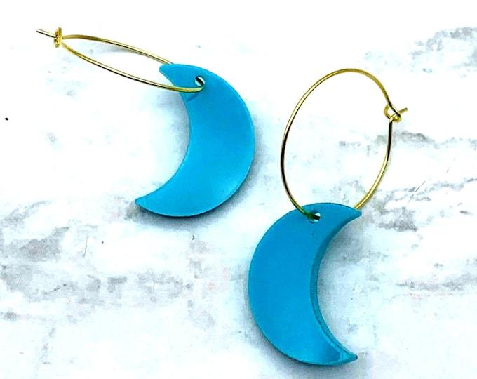 Turquoise Skies - Gold Hoop Earrings - Laser Cut Acrylic